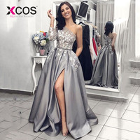Grey Satin Evening Gown 2019 A Line Sexy Split White Lace Long Prom Dresses with Pockets One Shoulder Long Sleeves Prom Dress