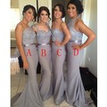 Free shipping Wholesale Silver Chiffon Beaded Lace Mermaid Cheap Bridesmaid Dresses Long With Sash Best Selling