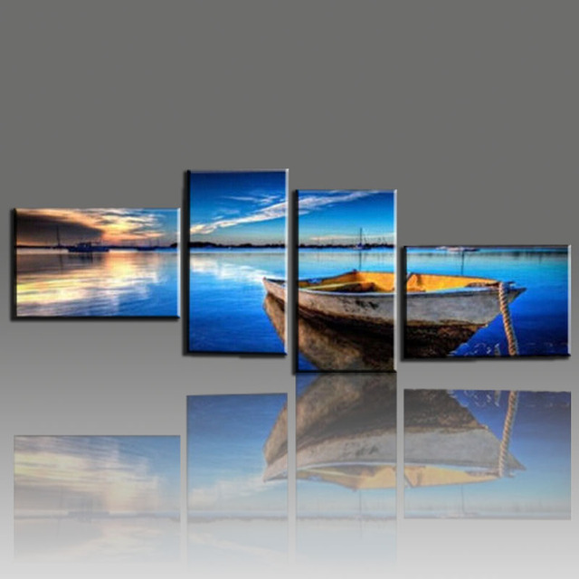 4 panel ocean oil painting hand painted cheap modern for Large paintings for dining room