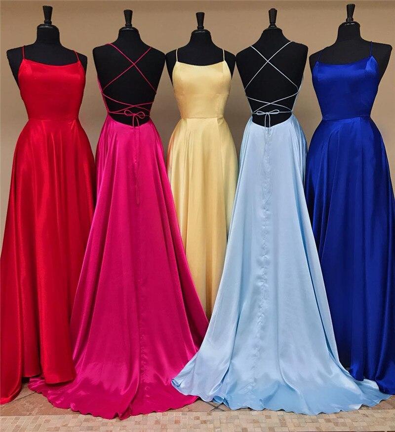 08ba0fb15 Sexy Cruz Halter vestidos de baile para las mujeres 2019 elegante satén una  línea larga Formal