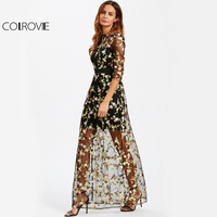 COLROVIE Botanical Embroidery Maxi Dress 2017 Floral Mesh Overlay 2 In 1 Women Elegant Long Dress Black Sheer A Line Party Dress