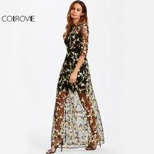 COLROVIE Botanico Del Ricamo Maxi Vestito Floreale Mesh Overlay 2 In 1 Delle Donne Elegante Abito Lungo Nero Sheer UNA Linea di Partito vestito