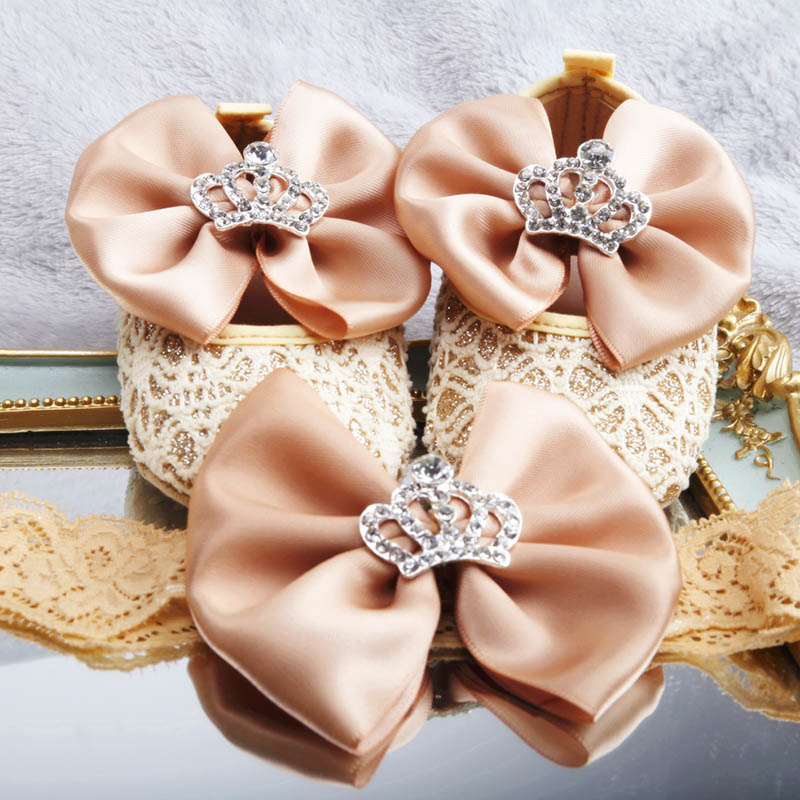Dolldling Baby Toddler Shoes Golden Bow Diamond Crown Cotton Soft Bottom Elastic Band Closed Baby Girl Toddler Shoes Headwear