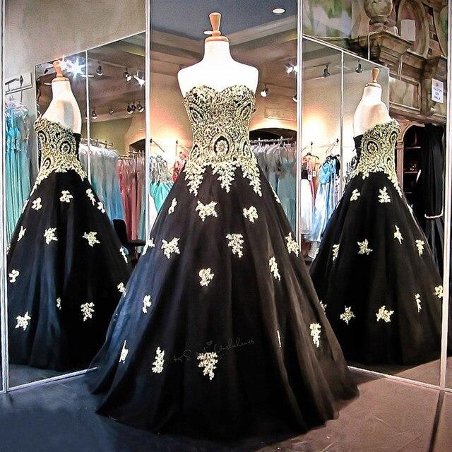 Gótico Negro Vestido de Novia 2018 Apliques de Encaje de Oro ...