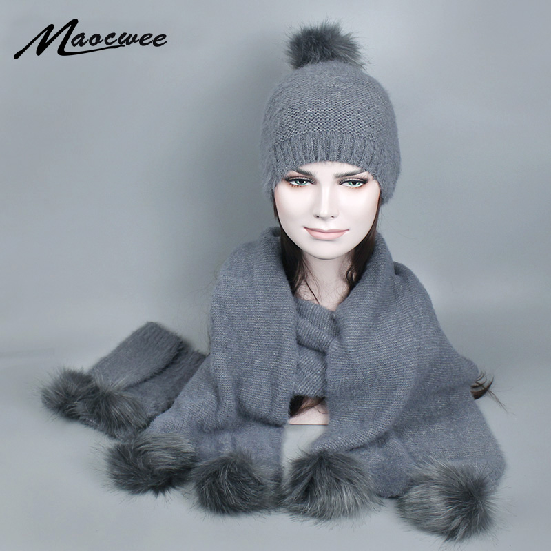 Women Winter Hat And Scarf Gloves Set Warm Knitted Hat Scarf For Girls High Quality Faux Fur Pompoms Hats Lady Beanies Skullies