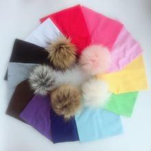 casquillo del sombrero de los niños de primavera e invierno Niños los bebés de las muchachas de algodón recién nacido accesorios de fotografía sombrero de piel sintética cap beanie pompones