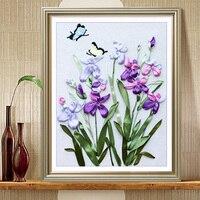 3D hiện đại hoa lan sơn Tự làm vá thêu ruy băng Set Trang trí phòng ngủ loạt hoa thủ công thủ công mỹ ngh