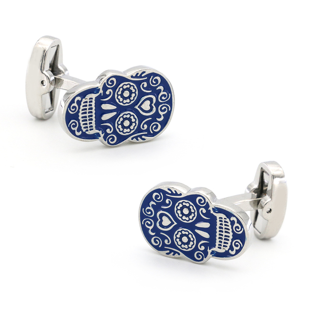 iGame New Arrival Skull Cuff Links Blue Painting Skeleton Dead Head Design Quality Brass Material Brand Cufflinks Free Shipping 1