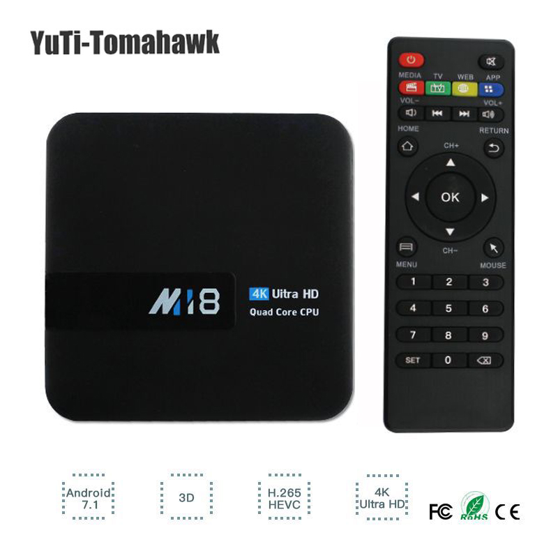 Android 7.1 M18 Quad-Core TV BOX 1GB RAM 8GB ROM S905W H.265 HEVC KODI Medial Player Set Top Box MiNi PC