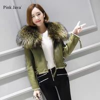 Pj5032 2017 Free Shipping Merino Sheep Fur Coat Fashion Silm Whoole Real Genuine Raccoon Fur Collar
