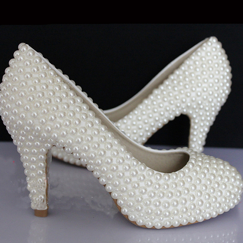 ФОТО 4 Inches Pearl Embellished Bridal Shoes high-heeled shoes fashion wedding dress Shoes Party queen Prom high heels Lady Pumps