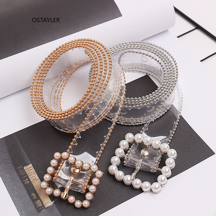 Square Pearl Buckle Pin Transparent PVC Belts For Women Bling Rhinestone PVC Jean Waist Belts Fashion Girls Shirt Dress Belts