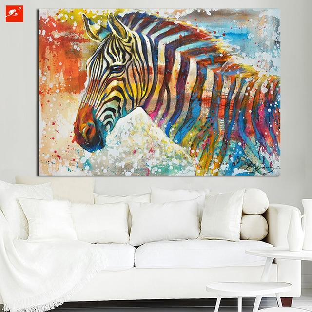 Wildlife Kunstdruck plus 50% Hand Painted Zebra Leinwand Ölgemälde ...