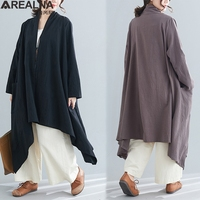 Korean style women casual loose irregular trench spring summer vintage Cotton linen long elegant coats ladies Overcoat Outerwear