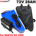 Литиевая батарея для SANYO 18650  72 в  28 А · ч  треугольная  для электрического велосипеда  батарея 72 в  для двигателя 1500 Вт  2000 Вт  3000 Вт  зарядное ус...