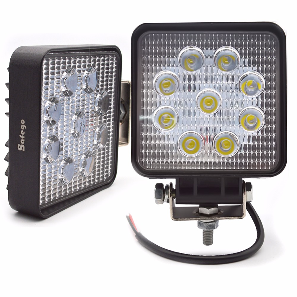 Safego 2X кола 27W светодиодна лампа за работна светлина 12V светодиодни шофиращи светлини 4X4 ATV трактор offroad 27W led работна лампа за мъгла за камиони 24V
