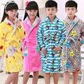 New 2015 Girls Boys Coral Cashmere Night-robe Children's Bathrobes Kids Flannel Sleepwear Teenager Robes 5-13Yrs Nightdress G274
