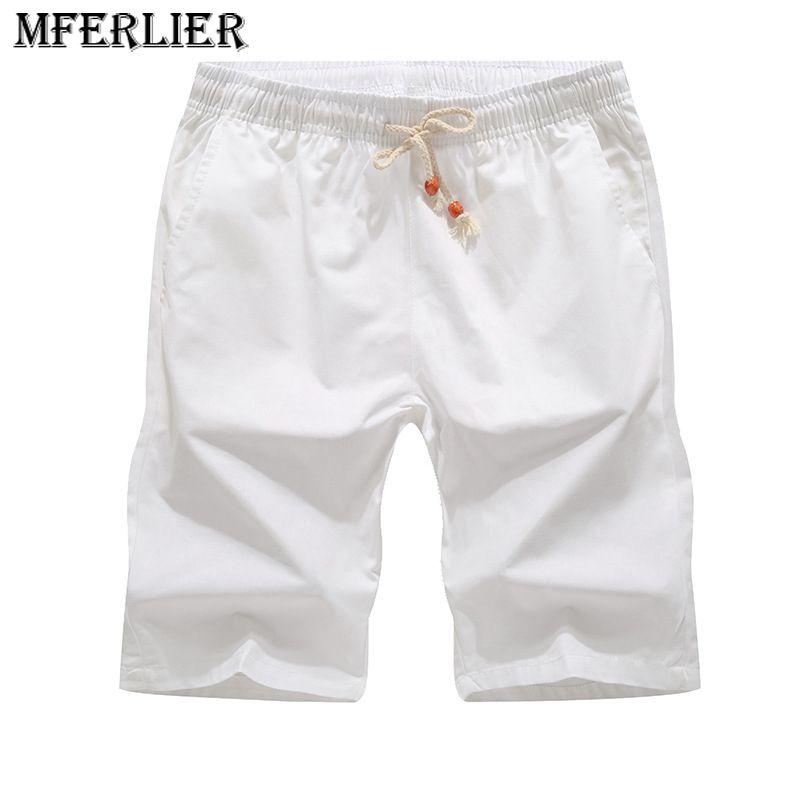 Summer Casual Shorts Men Cotton Elastic Waist Men Shorts Size M-5XL 6 Colors