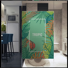 Window Glass stickers Frosted glass foil frosted film office bathroom window sticker tropical plant big leaf