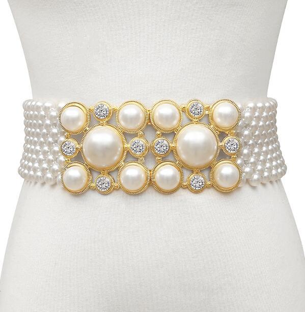 Women's Runway Fashion Elastic Diamonds Pearl Cummerbunds Female Dress Corsets Waistband Belts Decoration Wide Belt R1469