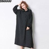DIMANAF Plus Size Women Dress Autumn Casual Polka Dot Loose Female Fashion Long Sleeve Chiffon Large Size Dress Oversize Dresses