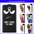 Factory price Fashion Patterns Cartoon Luxury Flip up and down PU Leather Case for General Mobile 4G,Free gift