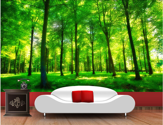 Custom nature wall murals green forest landscape used in the