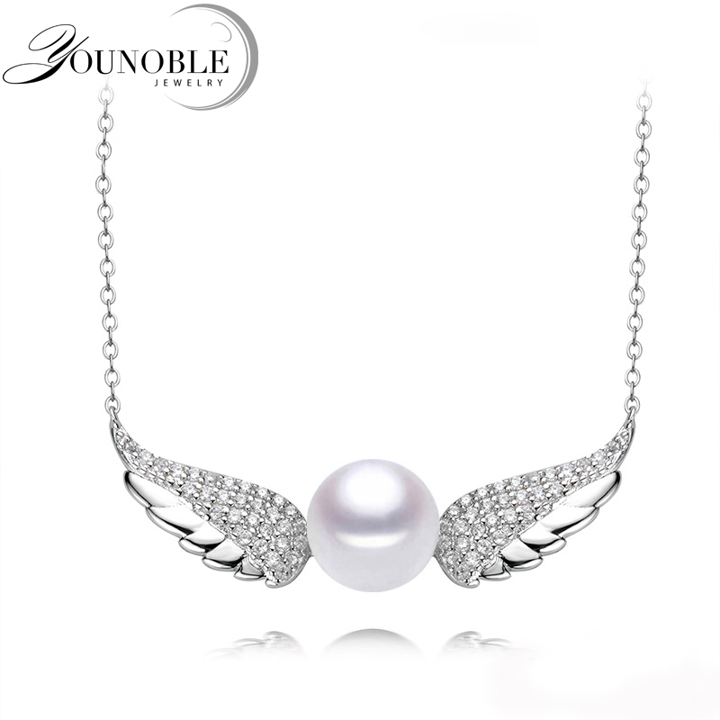 Pearl Pendant Necklace 925 Silver Women,Fashion Natural Pearl Pendants jewelry Daughter Birthd Gift White 8-9mm