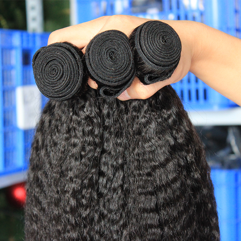 Kinky Straight Hair Brazilian Virgin Hair Weave Bundles Coarse Yaki 100% Human Hair Bundles Ever Beauty Hair Products Extensions - 5