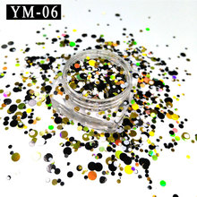 YM-06-1Box  1mm 2mm 3mm White&Black&Yellow Glitter Nail Holographic Acrylic Mixes Holo Sequins Round