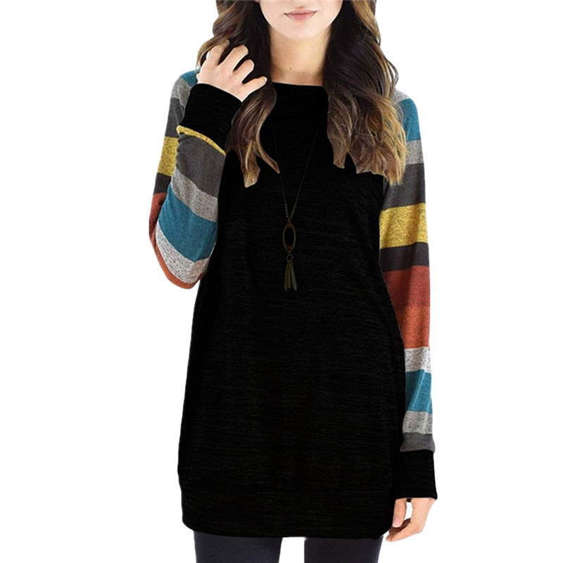 Women Casual O Neck Tunic Plus Size Tops Camisas Mujer 2019 Autumn Women Fashion   Blouse     Shirt   Patchwork Long Sleeve   Blouse