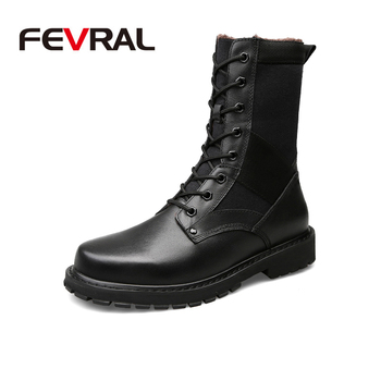 FEVRAL 2020 Fashion Men Boots Vintage Casual Leather Martin Boots Autumn Winter Styles Mid-Calf High Motorcycle Boots Size 37~50