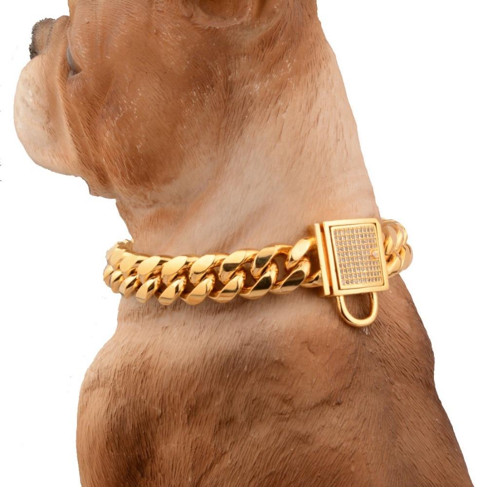 14MM Charm White Rhinestone Lock Buckle Cut Curb Cuban Link 316L Stainless Steel Gold Dog Chain Pet Collar Choker Necklac 12 34
