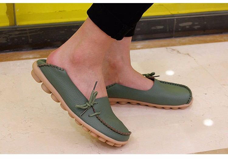 2016 New Real Leather Woman Flats Moccasins Mother Loafers Lacing Female Driving Casual Shoes In 16 Colors Size 34-44 ST179 (25)