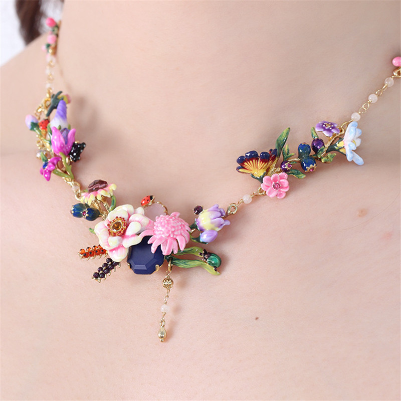 Dyxytwe Enamel Glaze Copper Fashion Trendy Various Flower Gem Women Necklace trendy faux gem oval necklace for women
