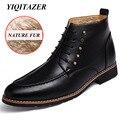YIQITAZER 2017 Winter Leather Shoes Man Pur Boots Shoes,Rubber Soles Non-slip Lace up Rivets Soft Leather Mans Shoes