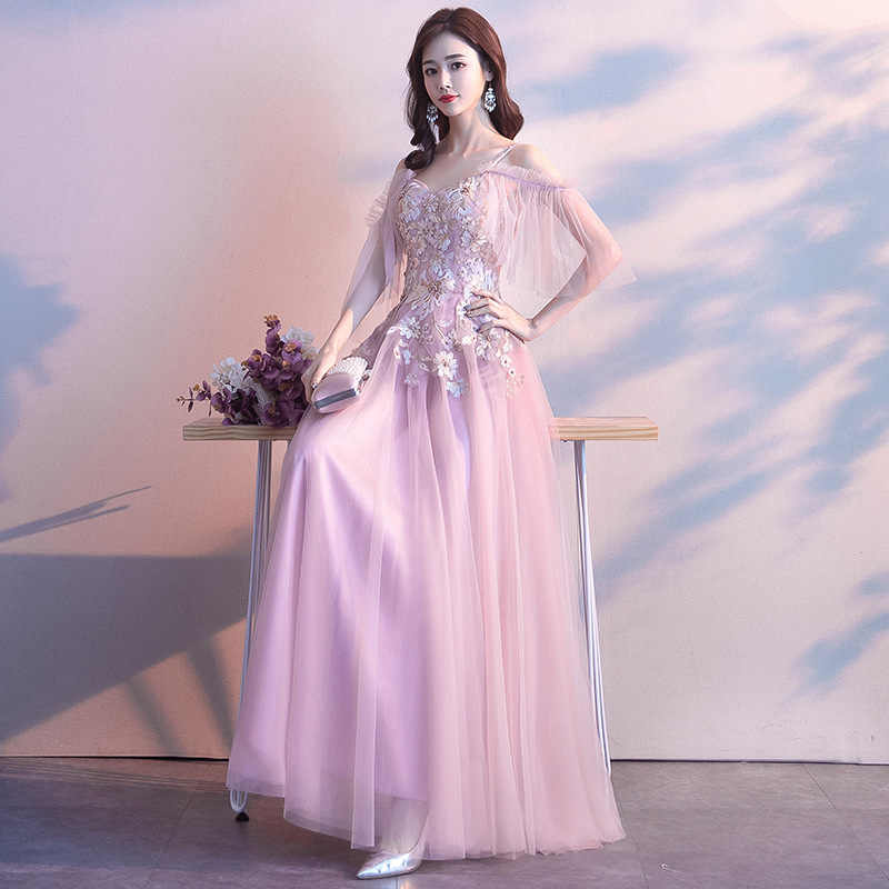 Pink Chinese Oriental V-Neck Embroidery Wedding Women Sexy Cheongsam Evening Dress Elegant Princess Dresses Modern Qipao
