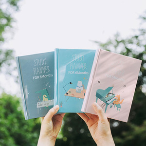 Image 3 - Cute Cartoon Study Planner Notebook with Color page Student 6 Months Plan Diary Wish Goal list Notepad School Stationery Gift