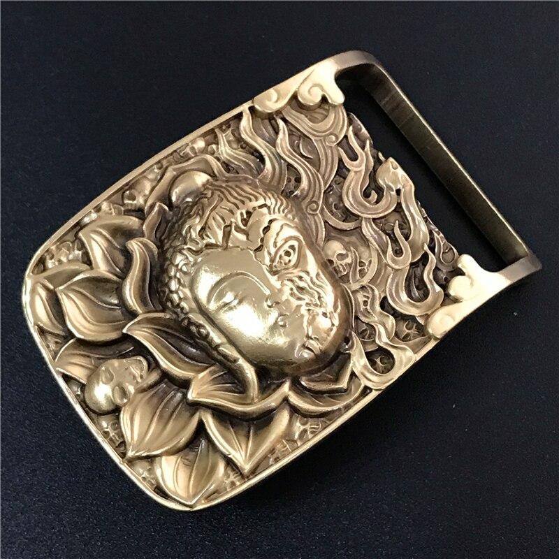 Solid Brass Buddha Head Belt Buckle Cowboy Jeans Belt Diy Accessories  Mens Belts Luxury Punk Buckle Male Strap BK0073