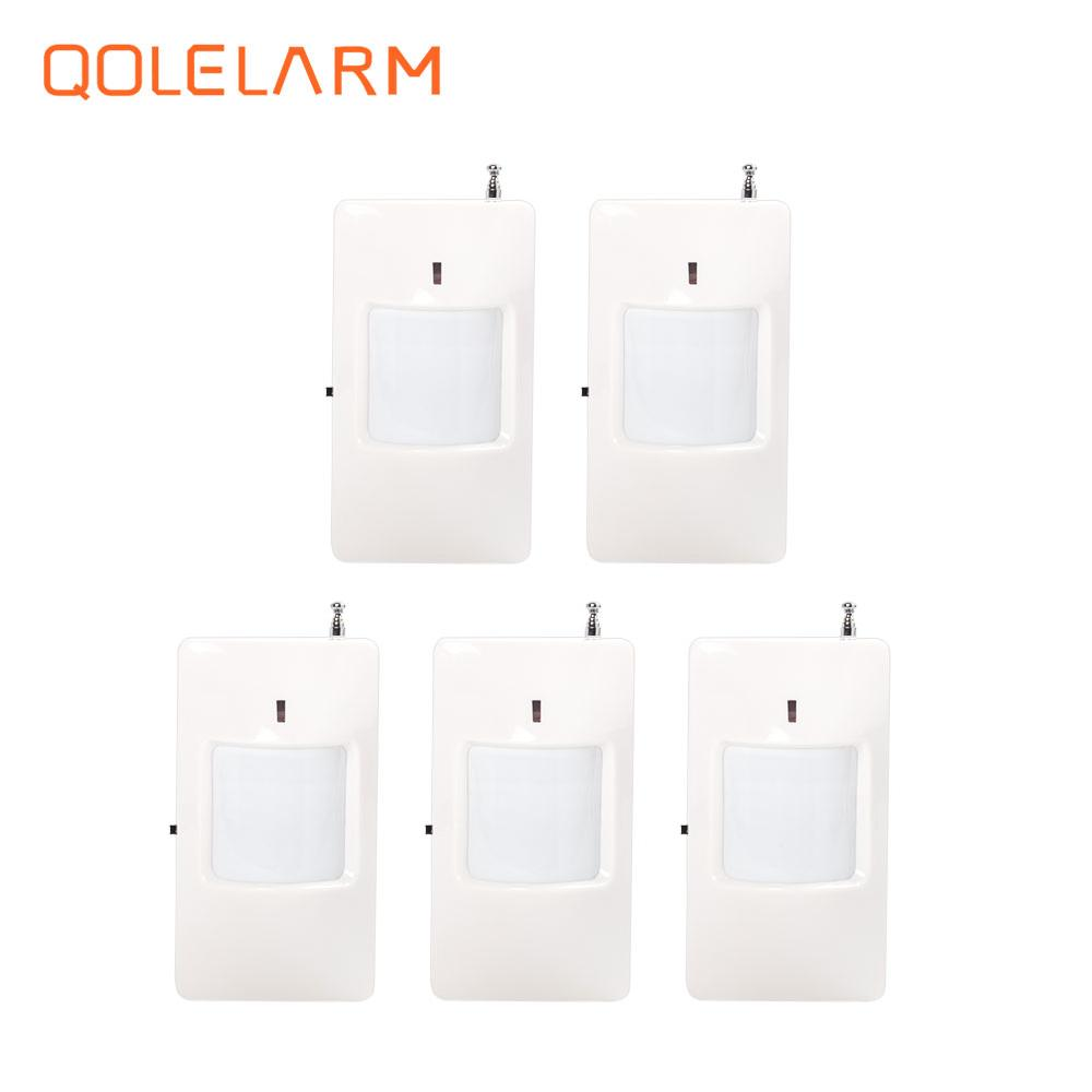 QOLELARM 5pcs 433 MHz Wireless Infrared detector PIR Motion Sensor for home security alarm system 433 mhz wireless 10kg pet friendly motion pir detector infrared detector for home security alarm system