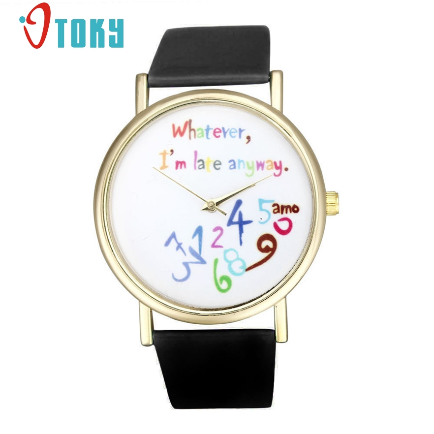 OTOKY Watches Women Faux Leather Watch Whatever I am Late Anyway Letter Watches Quartz Watch Clocks #20 gift 1pcs 2018 new models male luxury watch fashion women leather watch whatever i am late anyway letter watches relogio feminino