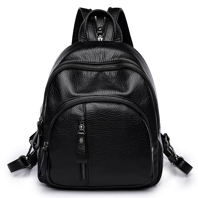 Amasie new arrival Black backpack small women school bag book bag genuine leather bag sac a