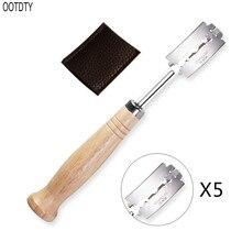 Специальный изогнутый дугой нож для хлеба с деревянной ручкой 5 шт. сменные лезвия Западный багет для резки французского бублика для тостов