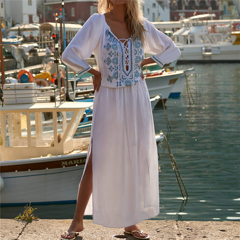 2019 Sexy Lace Up Plunging Neck Side Split Embroidered Long Kaftan Beach Summer Dress White Cotton Tunic Women Beachwear N794 outfits para playa mujer 2019