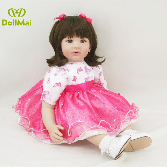 high quality 24 Reborn dolls silicone reborn babies pink dress brown hair realistic girl bebe alive reborn bonecas kids gifthigh quality 24 Reborn dolls silicone reborn babies pink dress brown hair realistic girl bebe alive reborn bonecas kids gift