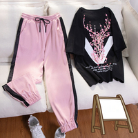 Casual tracksuit 2piece set women summer 2019 fashion short sleeve print t shirt Korean Streetwear clothing female sporting suit
