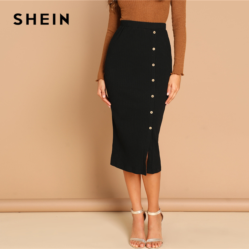 SHEIN Black Button Front Ribbed Knit Split Solid Slim Long Skirt Women Spring Elegant Office Lady Bodycon Workwear Pencil Skirts