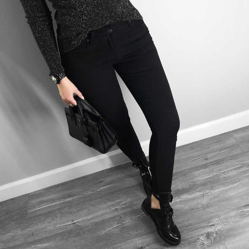 2019 de alta calidad de las mujeres jeans skinny estilo básico casual de color sólido pantalones vaqueros elásticos negros delgados