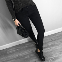 2019 high quality women jeans skinny basic style casual solid color denim pants Slim black stretch jeans