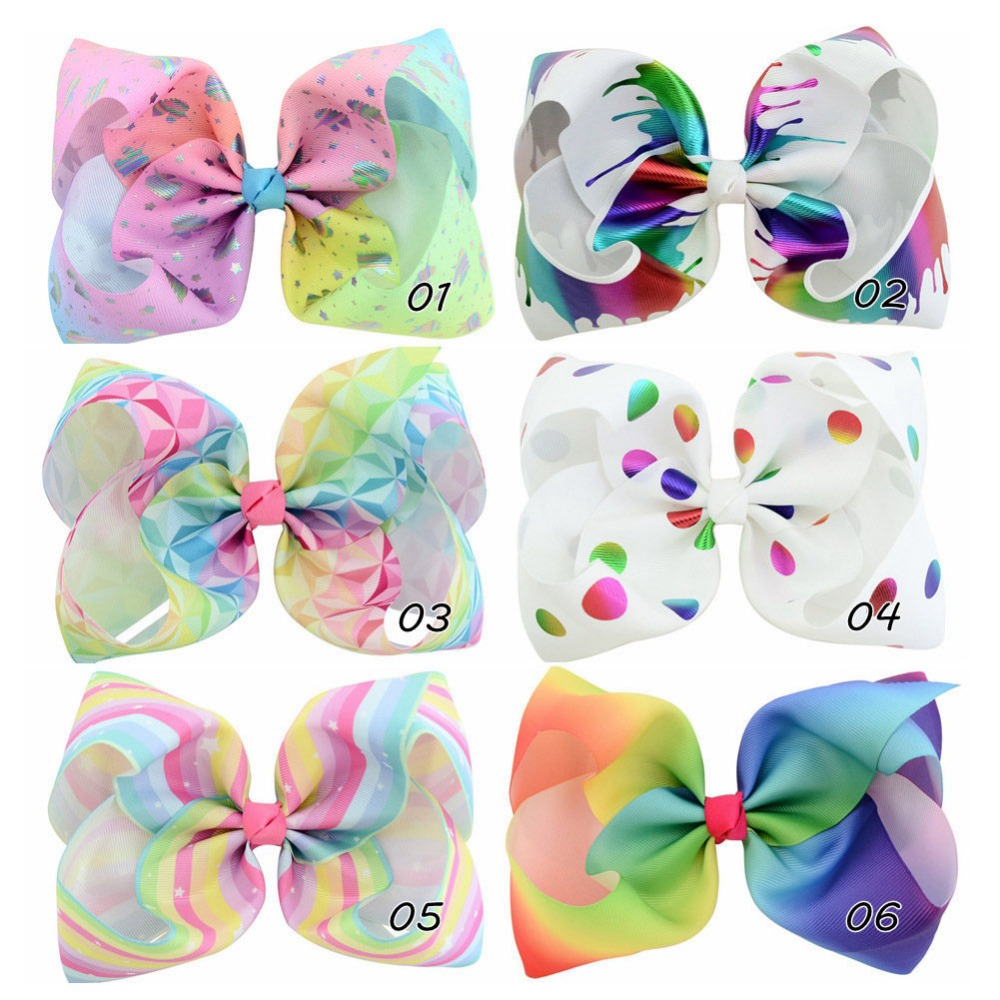 A-STYLE 20pc/lot 8 Large Hair Bows Hair Clips,Large Rainbow Ribbon Hair Bows Barrettes K ...